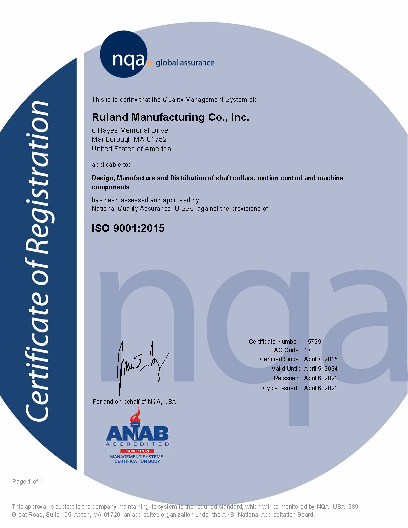 Iso 9001 2015 Certification Ruland